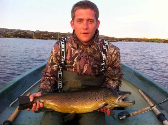 Jamie Stewart with his 10lb trout from Loch Haumabhat.