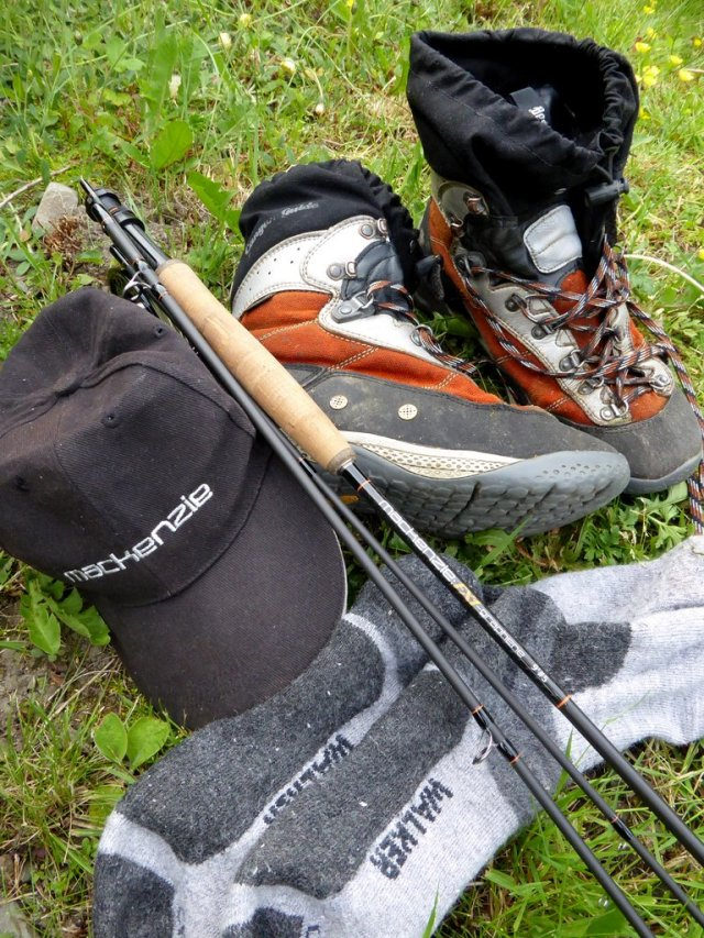 Boots, socks, a peaked cap and of course decent fly rod are all you need to enjoy drought conditions